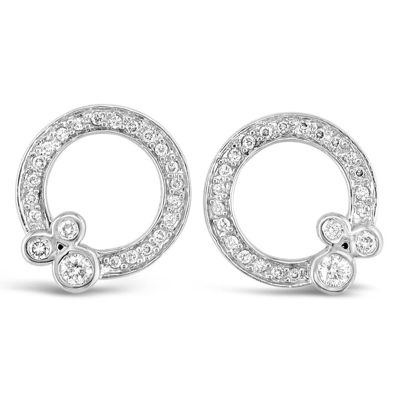 Gold Fire Diamonds Circle Ornament Stud Earrings