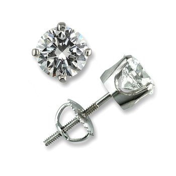 4 Prong Round Stud Earrings 3/4 ct W