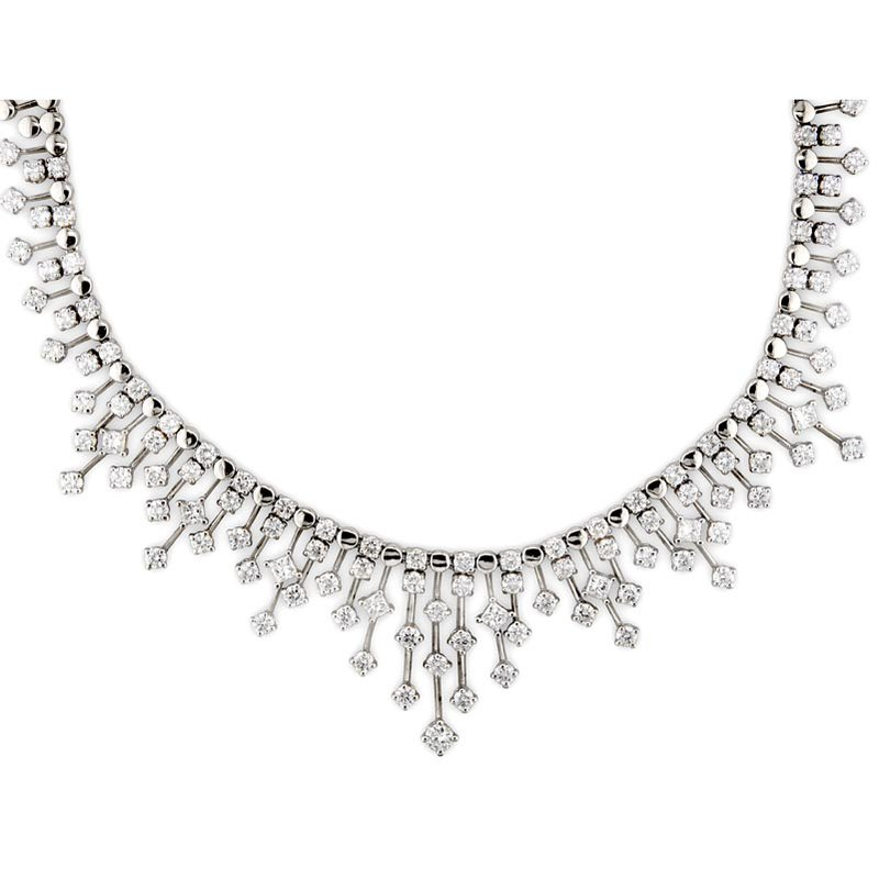 Gold Fire Diamonds Diamond Raindrop Necklace