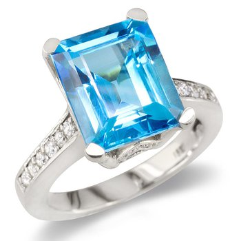 Blue Topaz On Diamond Band