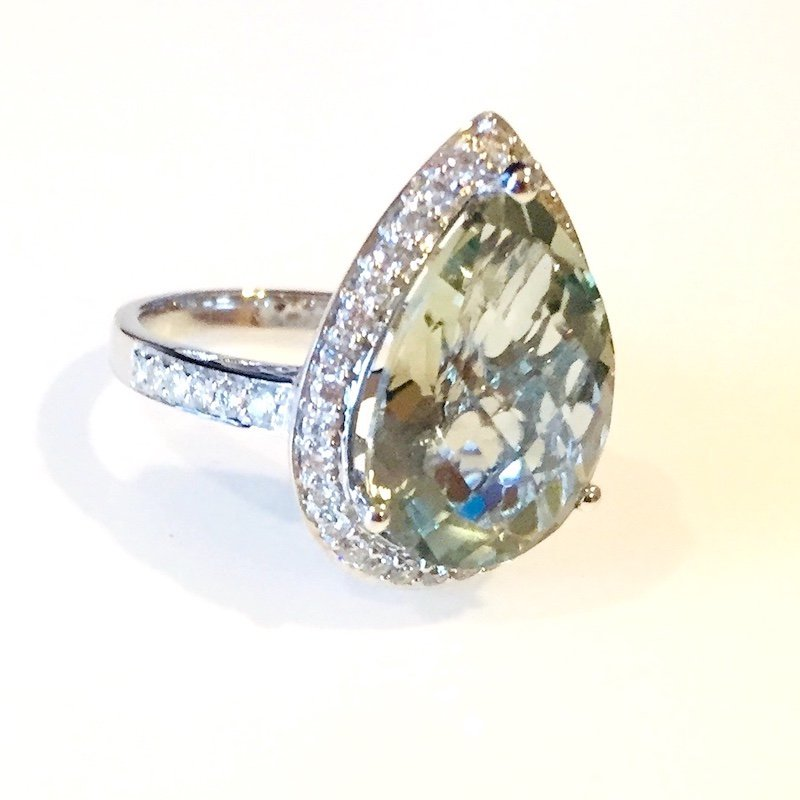 Gold Fire Diamonds Green Amethyst Pear Shape Cocktail Ring