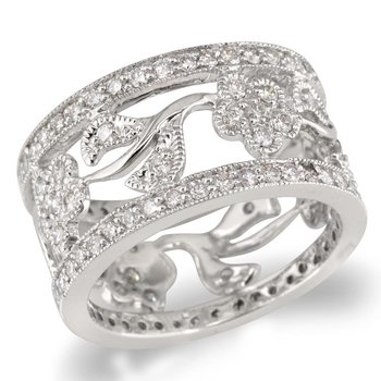 Cutout Leaf and Flower Wedding Band
