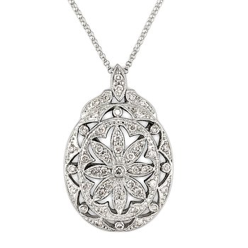 Art Deco Pave Oval Flower Pendant