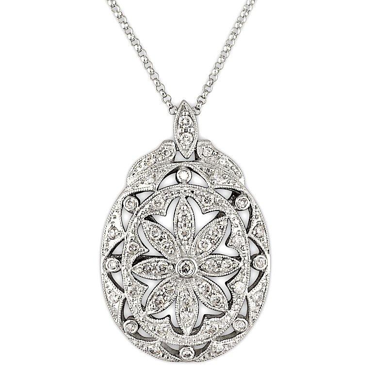 Gold Fire Diamonds Art Deco Pave Oval Flower Pendant