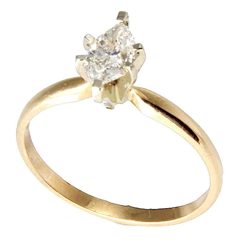 Gold Fire Diamonds Marquise Solitaire 1.30 Ct
