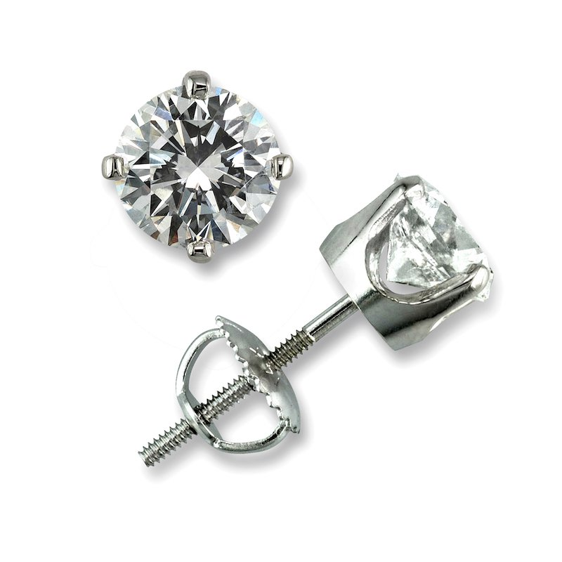 Gold Fire Diamonds 4 Prong Round Stud Earrings 1/2 ct W