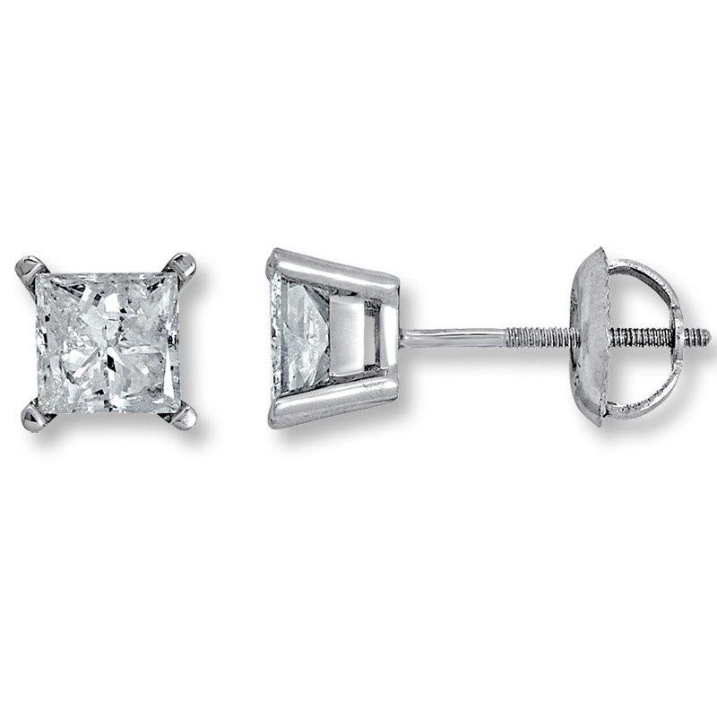 Gold Fire Diamonds 4 Prong Princess Stud Earring 1 ct W