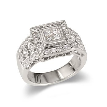 Wide Medallion Square Wedding Band
