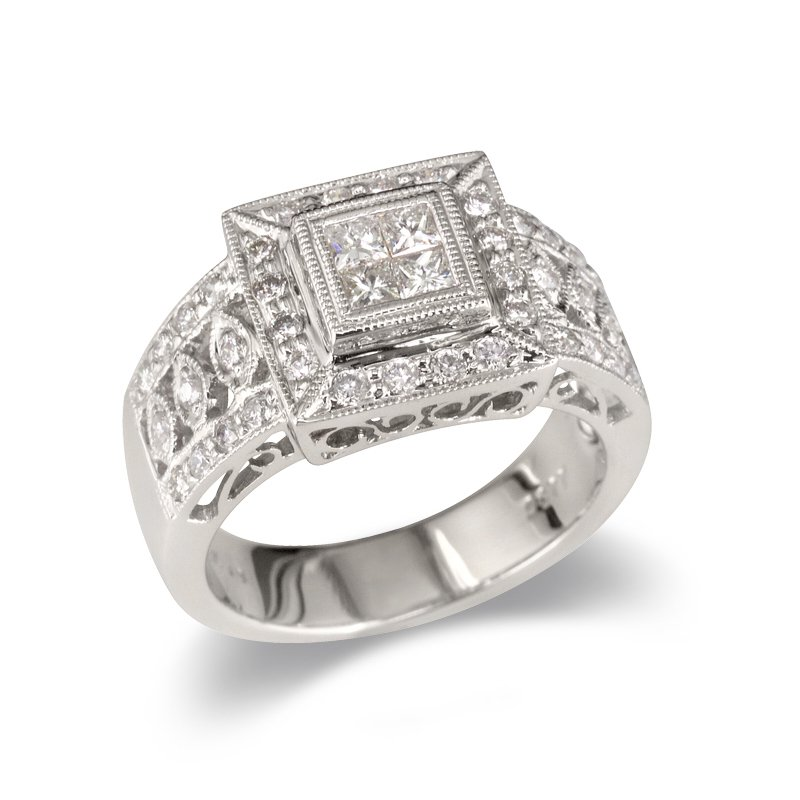 Gold Fire Diamonds Wide Medallion Square Wedding Band
