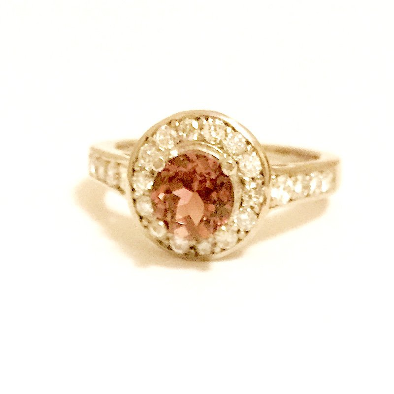 Gold Fire Diamonds Pink Tourmaline 18K  Cocktail Ring