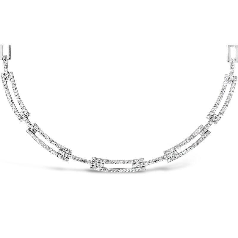 Gold Fire Diamonds Rectangle Link Necklace