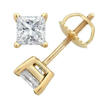 4 Prong Princess Stud Earring 3/4 ct Y