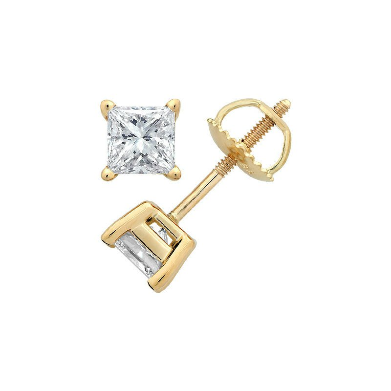 Gold Fire Diamonds 4 Prong Princess Stud Earring 3/4 ct Y