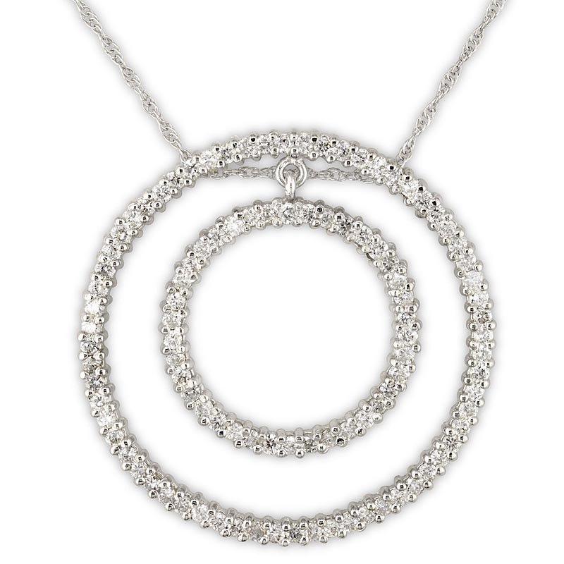 Gold Fire Diamonds Double Circle Pendant