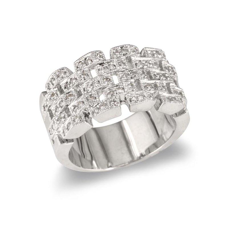 Gold Fire Diamonds Chain Link Wedding Band