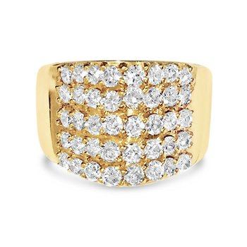 Wide Five Row Yellow Gold Cocktail Ring