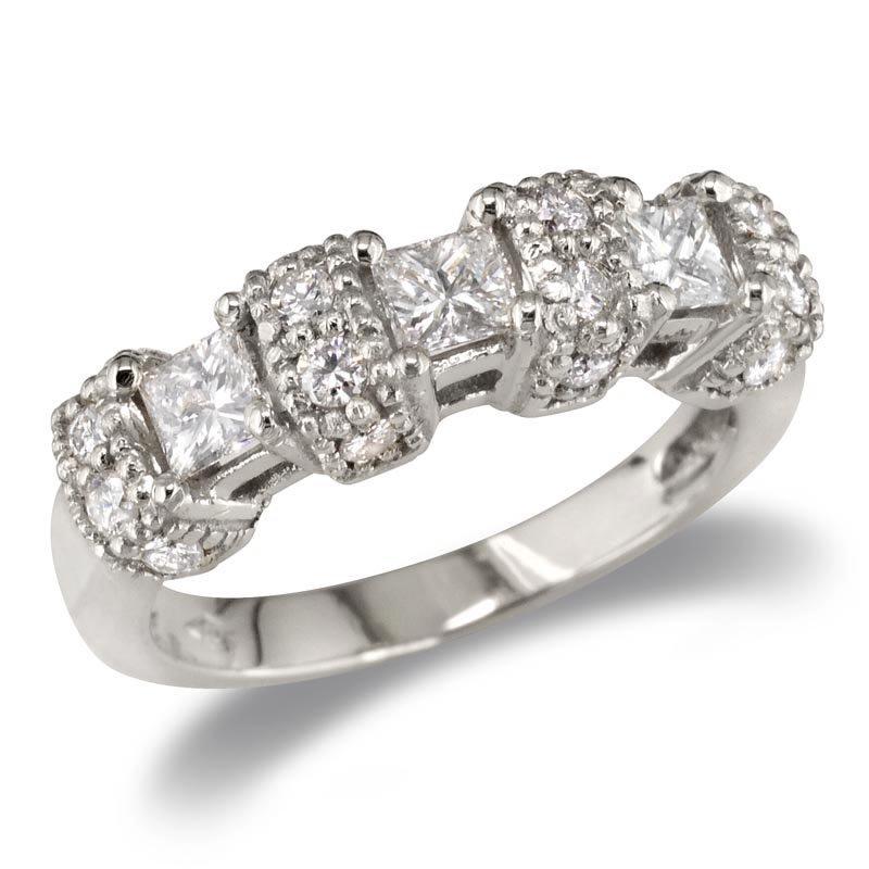 Gold Fire Diamonds Round Wrapped Princess Wedding Band