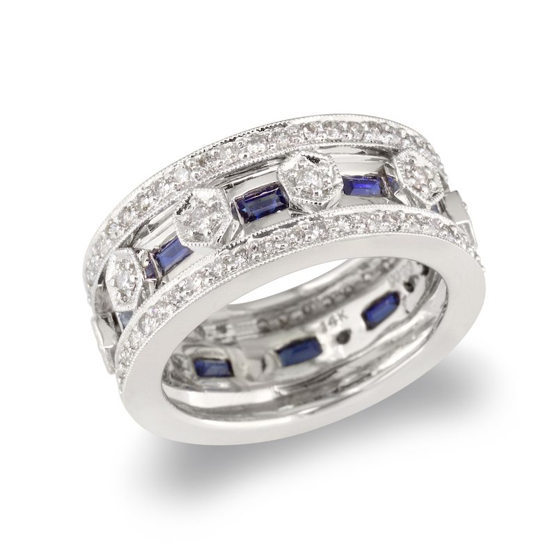 Gold Fire Diamonds Sapphire Accent Wedding Band