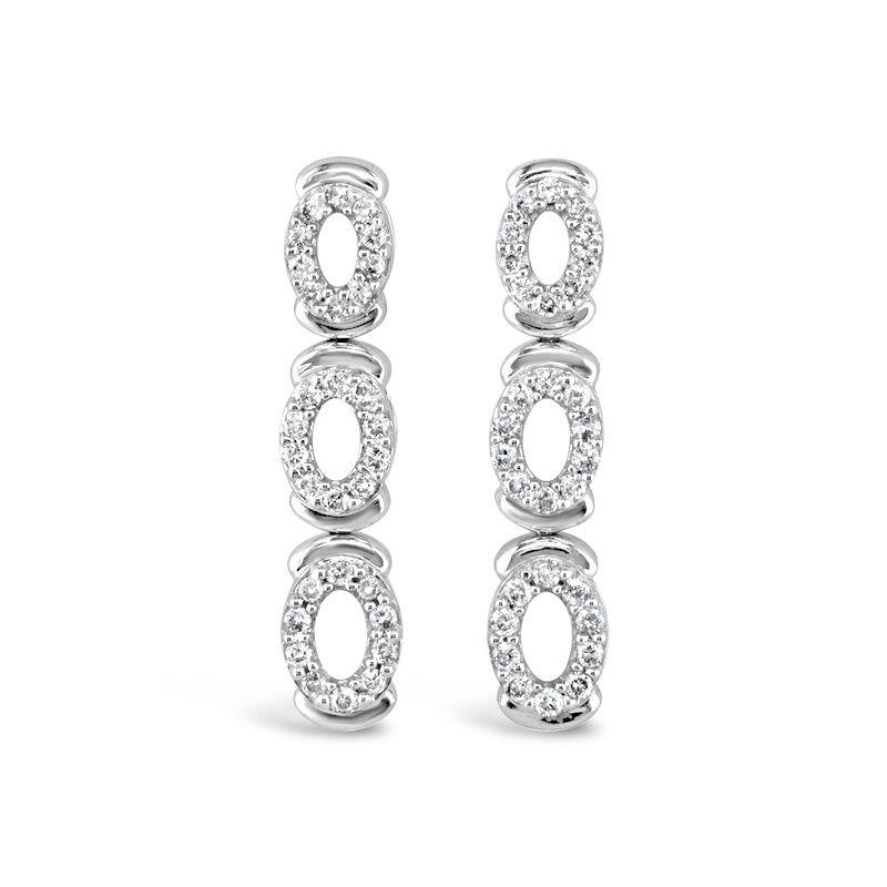Gold Fire Diamonds Triple Oval Hanging Earrings