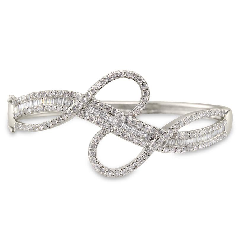 Gold Fire Diamonds Ribbon Bangle Bracelet