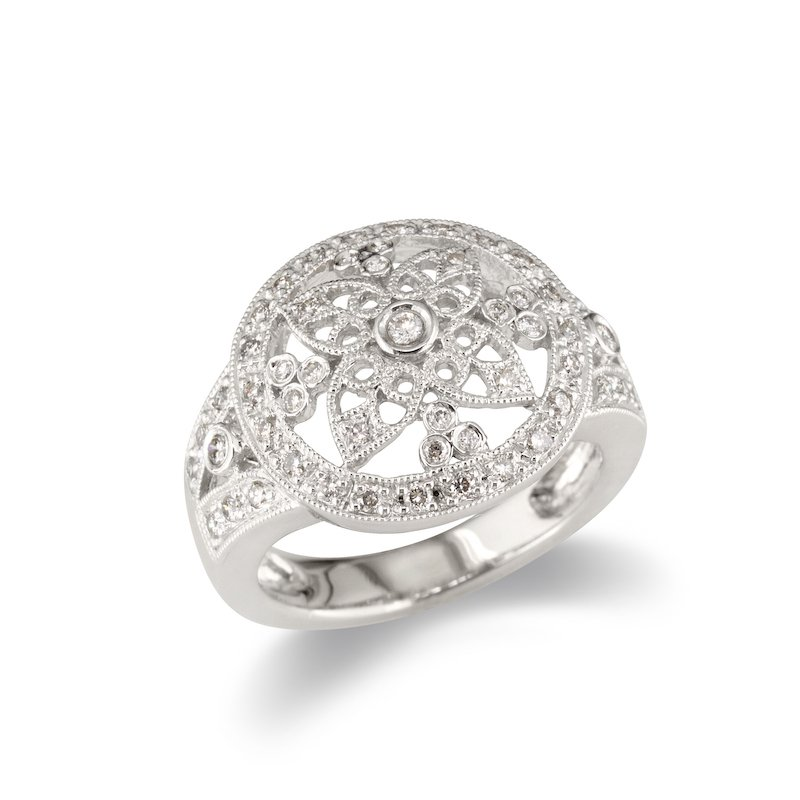 Gold Fire Diamonds Flower Inset Cocktail Ring