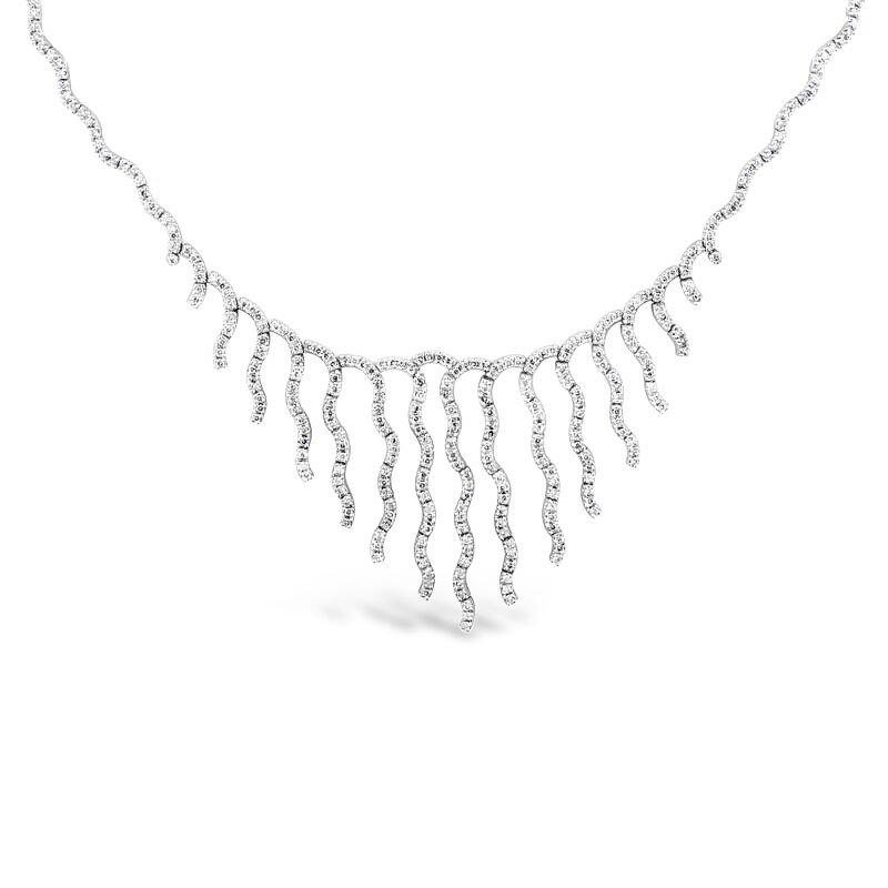 Gold Fire Diamonds Wavy Bib Necklace