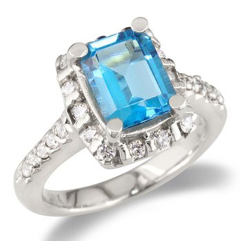 Diamond and Blue Topaz Cocktail Ring