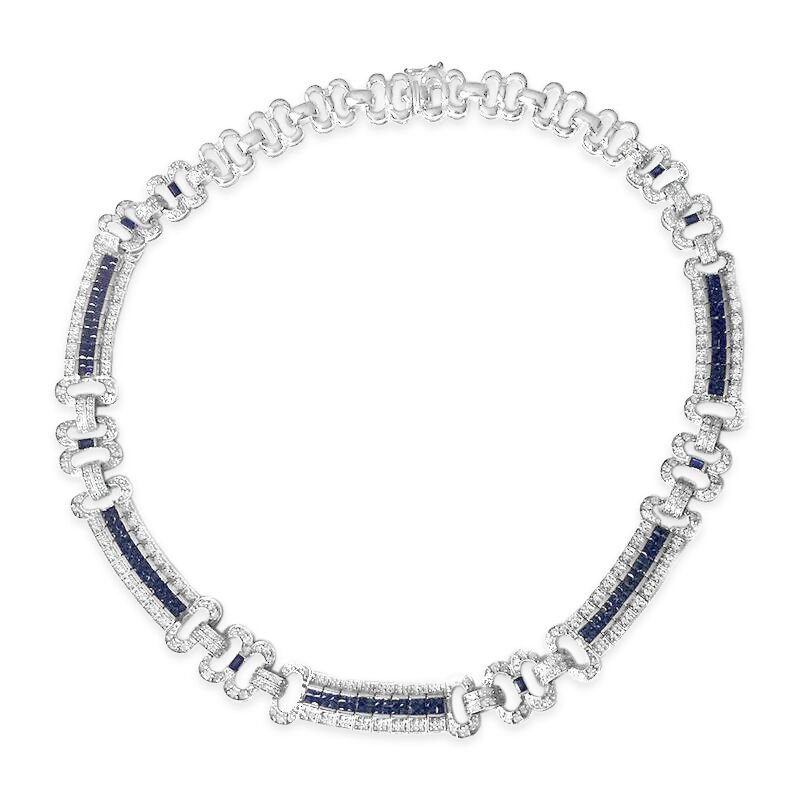 Gold Fire Diamonds Diamond and Sapphire Necklace