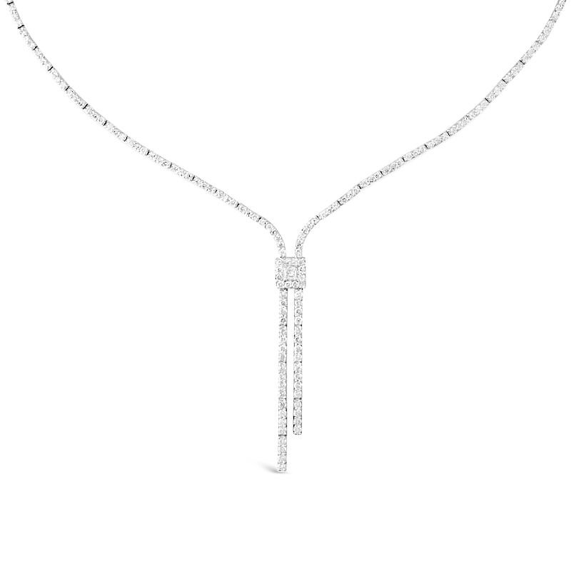 Gold Fire Diamonds Lariat Necklace Square Medallion Center