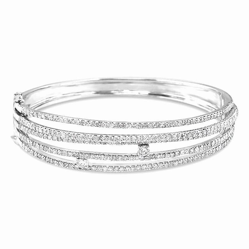 Gold Fire Diamonds 4 Row Bangle Bracelet