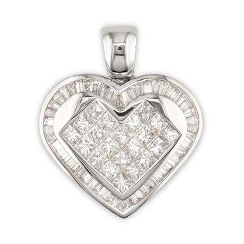 Princess/Baguette Heart Pendant