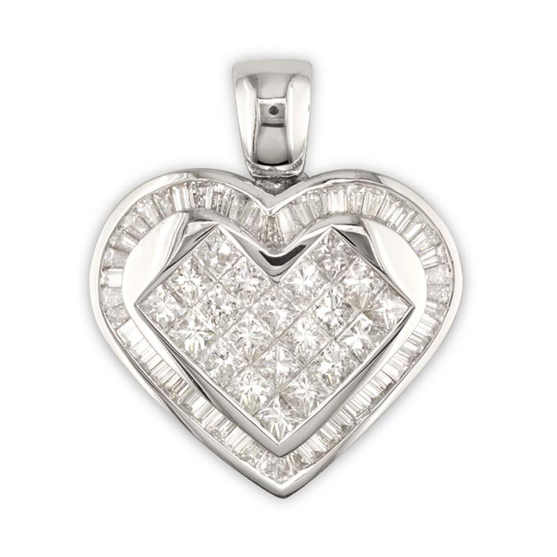 Gold Fire Diamonds Princess/Baguette Heart Pendant