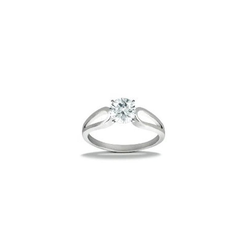 Gold Fire Diamonds Loop Solitaire Engagement Ring