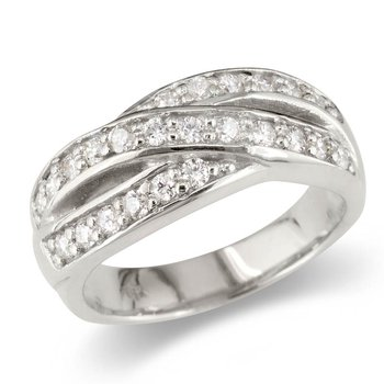 Round Crossover Wedding Band