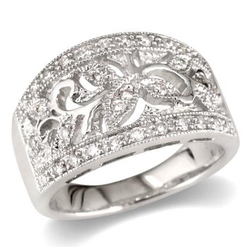 Flower and Leaf Wedding Band