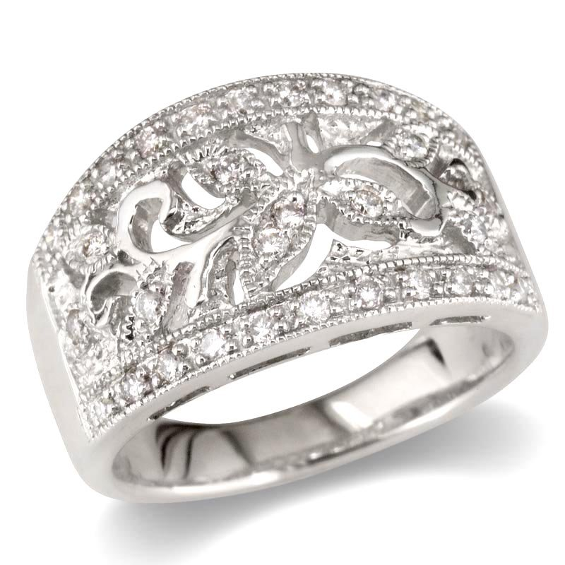 Gold Fire Diamonds Flower and Leaf Wedding Band