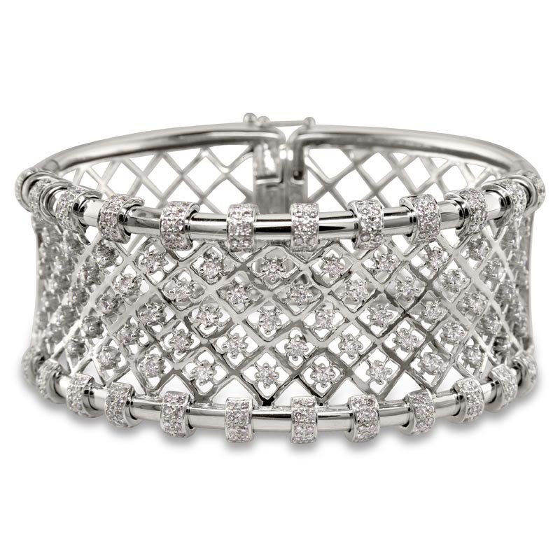 Gold Fire Diamonds Mesh Diamond Cuff Bracelet