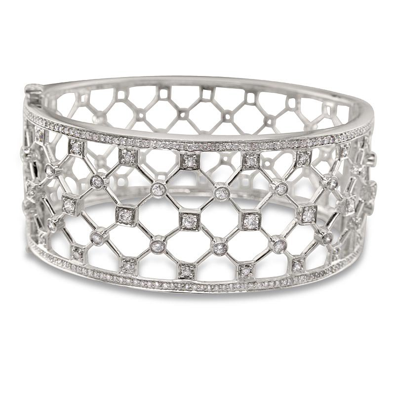 Gold Fire Diamonds Chicken Wire Cuff