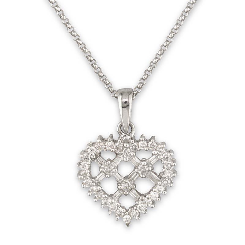 Gold Fire Diamonds Lattice Heart Pendant