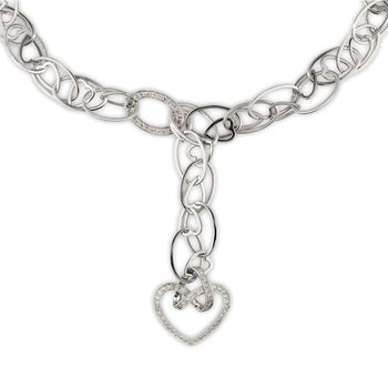 Chain Link Hanging Heart Necklace