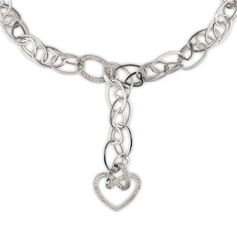 Gold Fire Diamonds Chain Link Hanging Heart Necklace