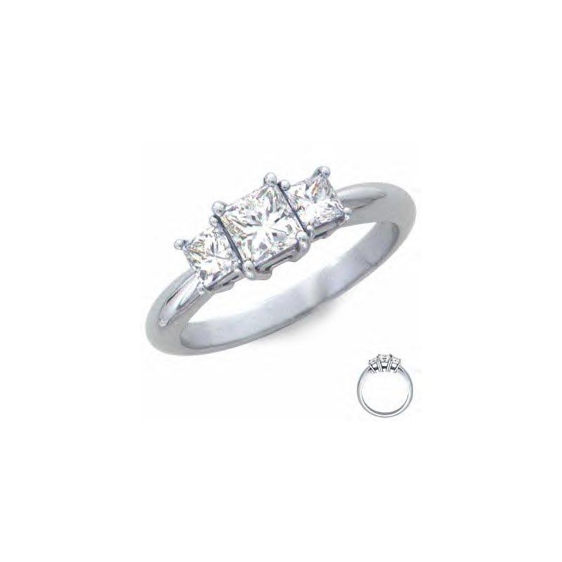 Gold Fire Diamonds Half ct Three Stone Princess