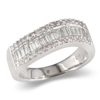 Triple Row Baguette Center Wedding Band