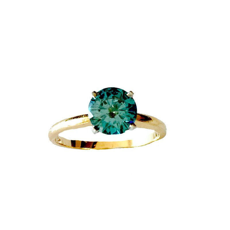 Gold Fire Diamonds Treated Blue Diamond Solitaire 1.08 Ct