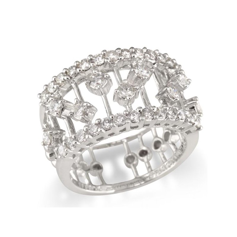 Gold Fire Diamonds Wide Cage Wedding Band