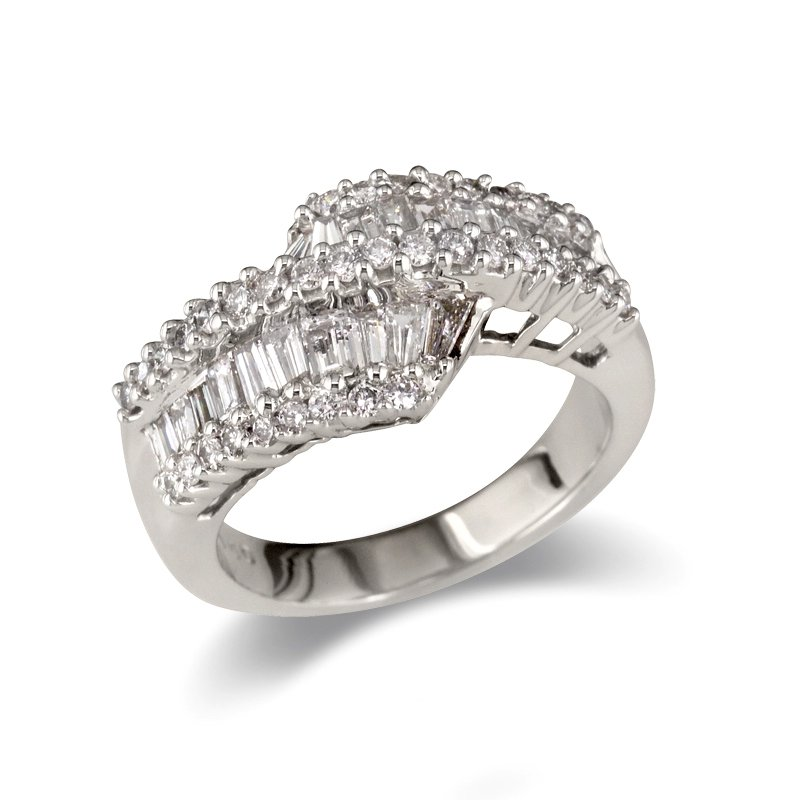 Gold Fire Diamonds Baguette and Round Uneven Wedding Band