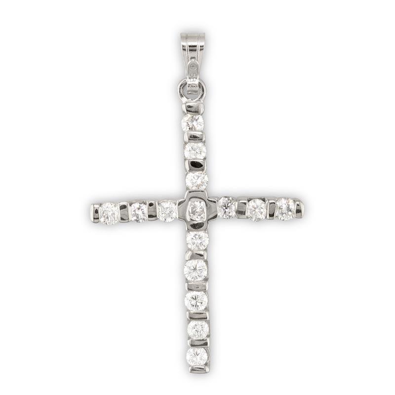 Gold Fire Diamonds Narrow Diamond Cross Pendant