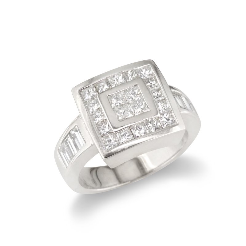 Gold Fire Diamonds Square Top Cocktail Ring
