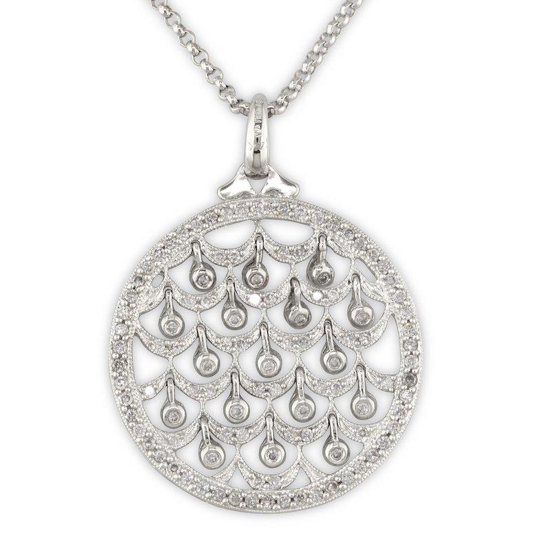 Gold Fire Diamonds Scallop and Drop Pendant