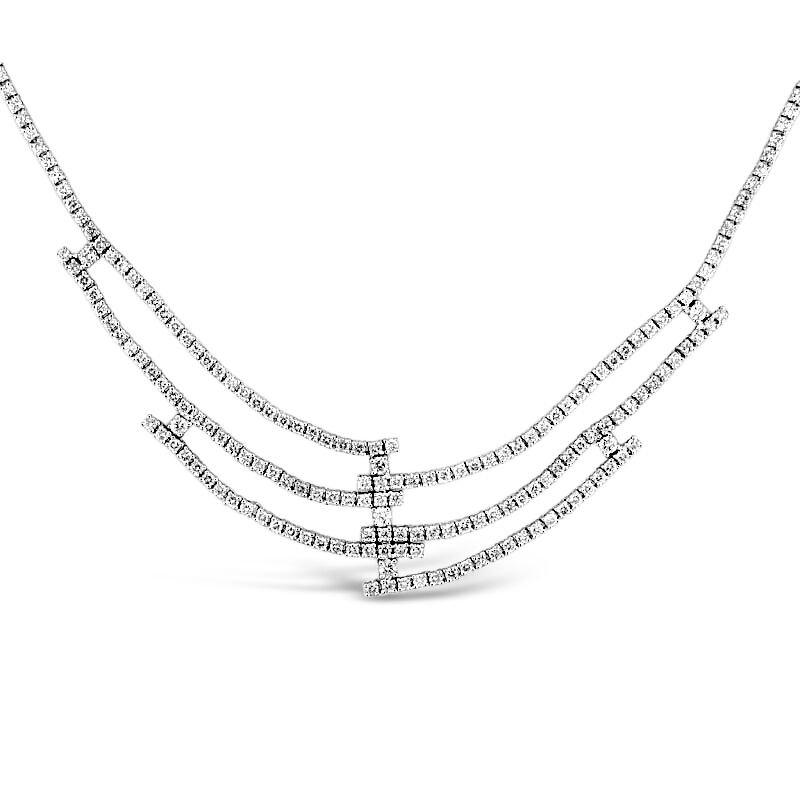 Gold Fire Diamonds Uneven Six Strand Necklace